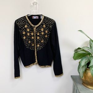 VTG Bravo Sequined Cardigan Sweater